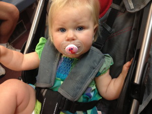 Charlotte in the airport. Such a good traveler.